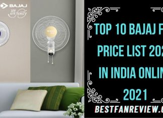Bajaj Fan Price List 2021