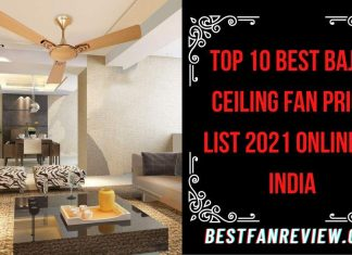 Bajaj Ceiling Fan Price List 2021