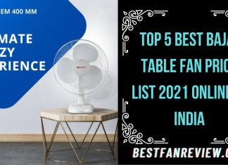 Bajaj Table Fan Price List 2021